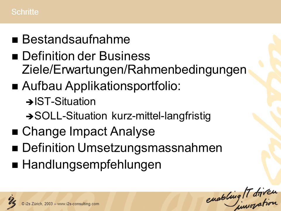 Definition der Business Ziele/Erwartungen/Rahmenbedingungen