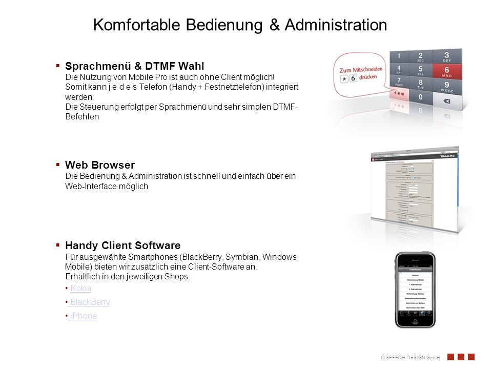 Komfortable Bedienung & Administration