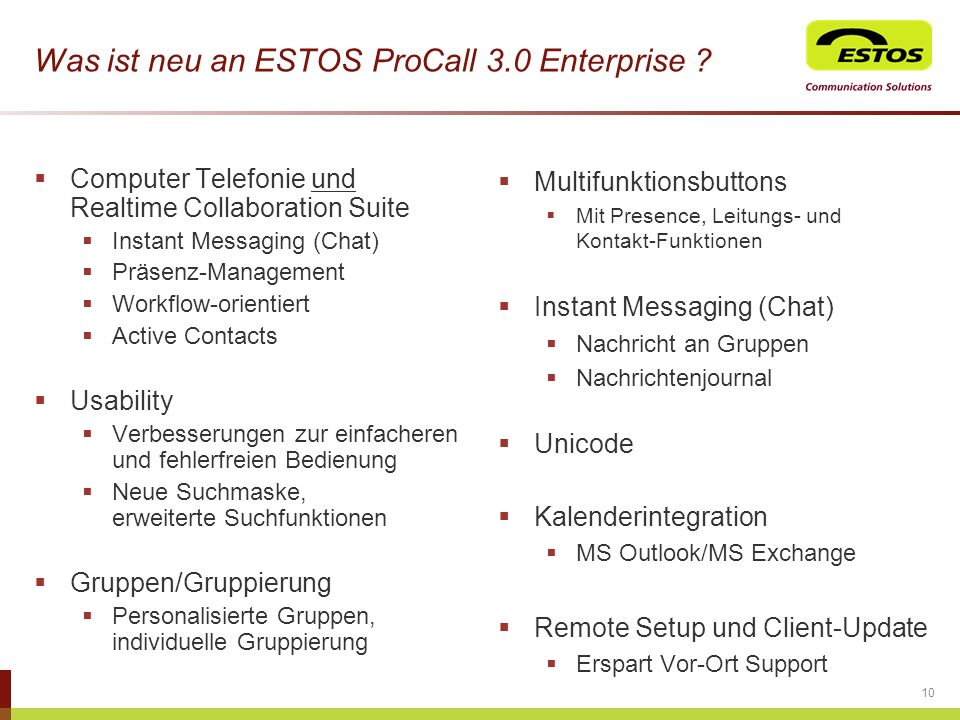 Was ist neu an ESTOS ProCall 3.0 Enterprise