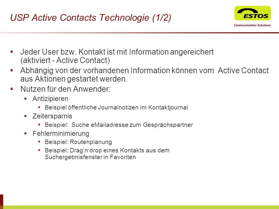 USP Active Contacts Technologie (1/2)