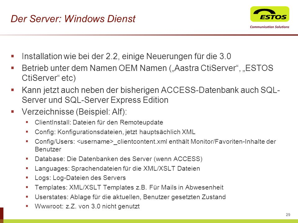 Der Server: Windows Dienst