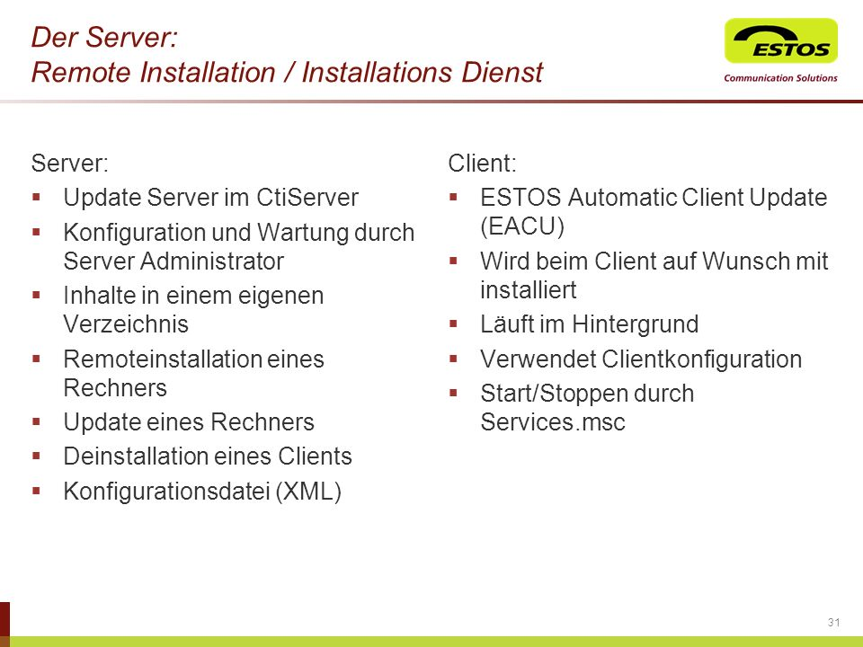Der Server: Remote Installation / Installations Dienst