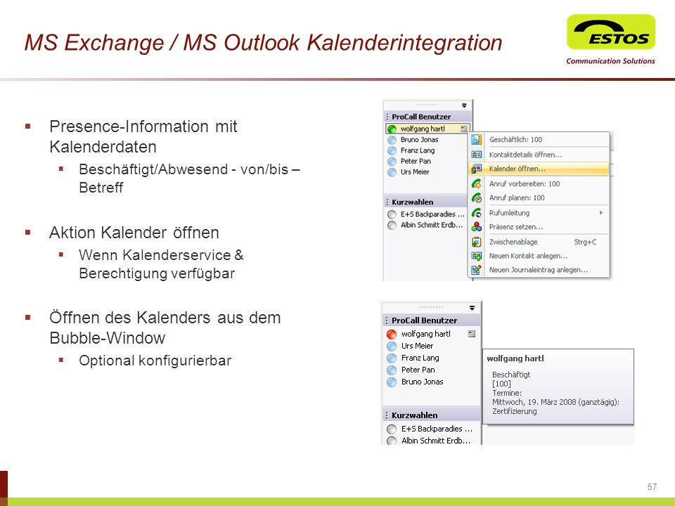 MS Exchange / MS Outlook Kalenderintegration