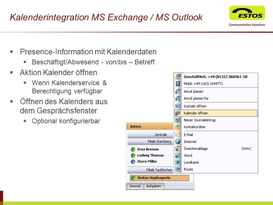 Kalenderintegration MS Exchange / MS Outlook
