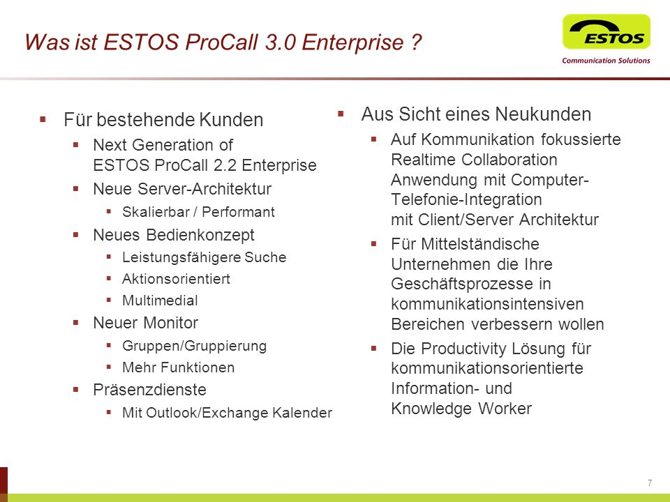Was ist ESTOS ProCall 3.0 Enterprise