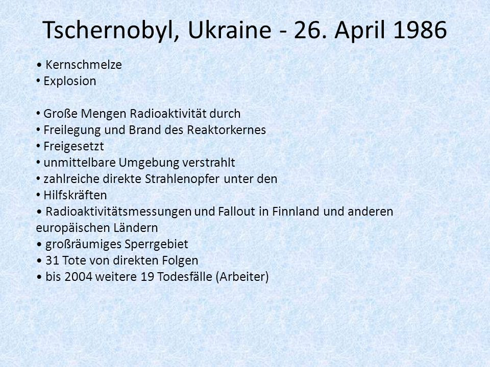 Tschernobyl, Ukraine April 1986