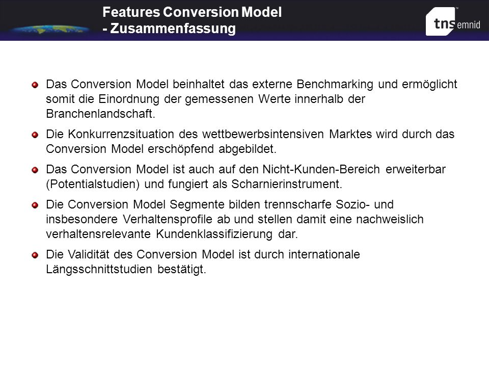Features Conversion Model - Zusammenfassung