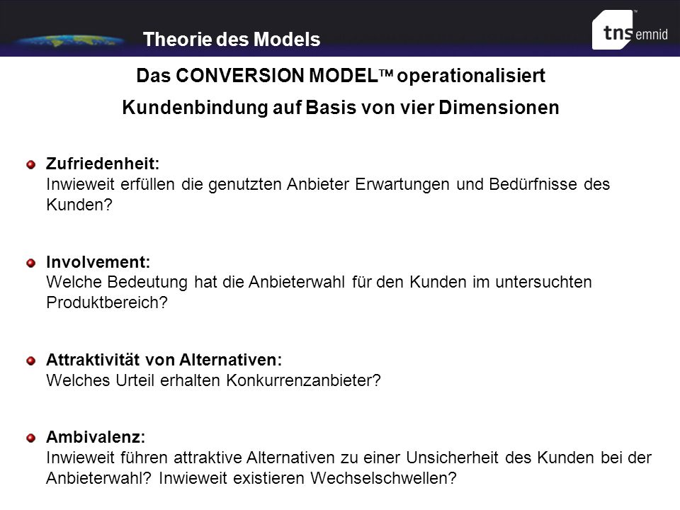 Das CONVERSION MODEL operationalisiert