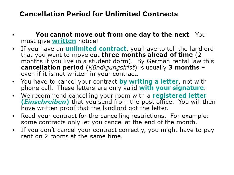 Cancellation Period for Unlimited Contracts