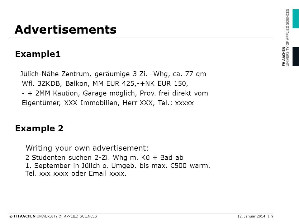 Advertisements Example1 Example 2
