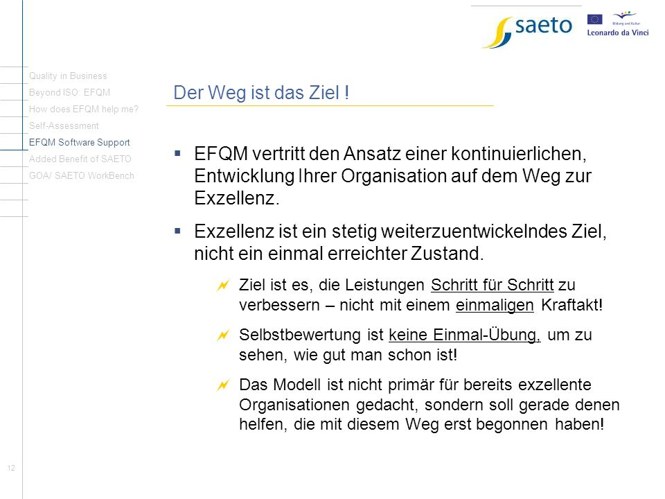 Quality in Business Der Weg ist das Ziel ! Beyond ISO: EFQM. How does EFQM help me Self-Assessment.