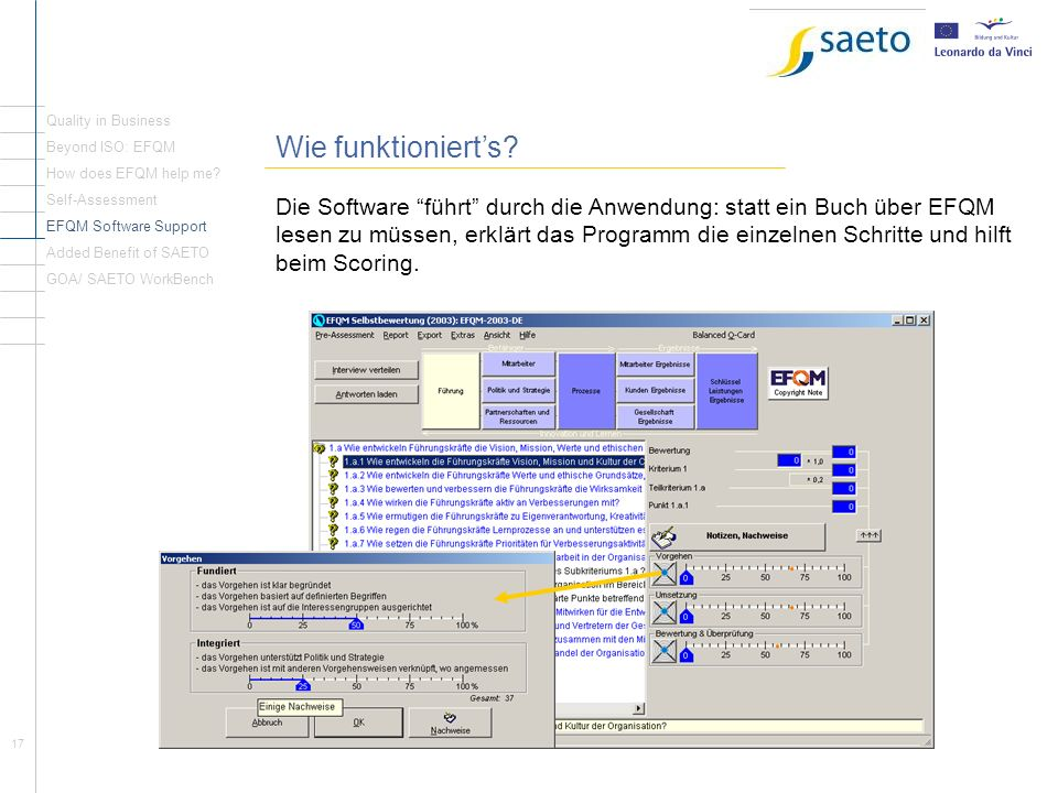 Quality in Business Wie funktioniert's Beyond ISO: EFQM. How does EFQM help me Self-Assessment.