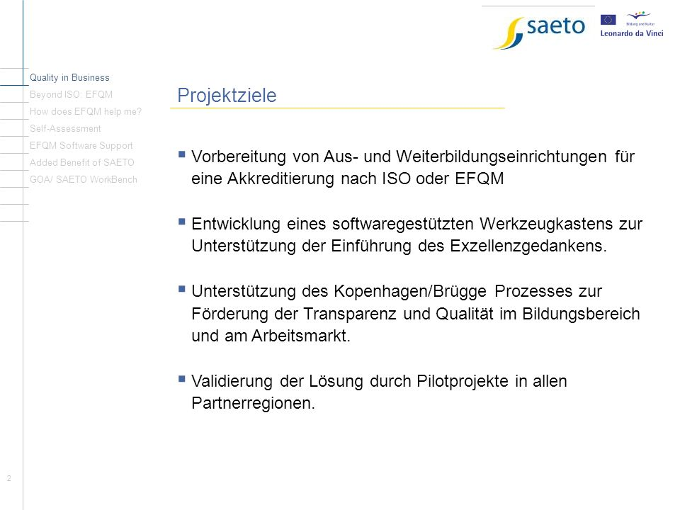 Quality in Business Beyond ISO: EFQM. Projektziele. How does EFQM help me Self-Assessment. EFQM Software Support.