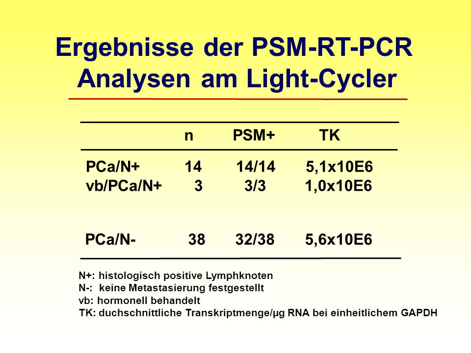 Ergebnisse der PSM-RT-PCR Analysen am Light-Cycler