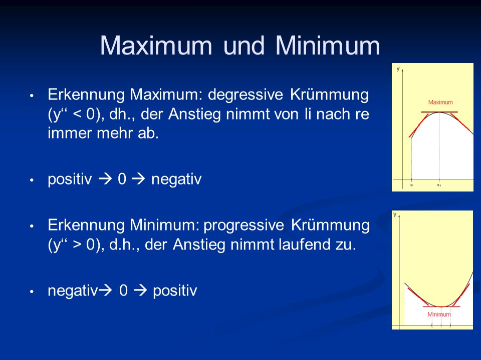 Maximum und Minimum Erkennung Maximum: degressive Krümmung (y'' < 0), dh., der Anstieg nimmt von li nach re immer mehr ab.