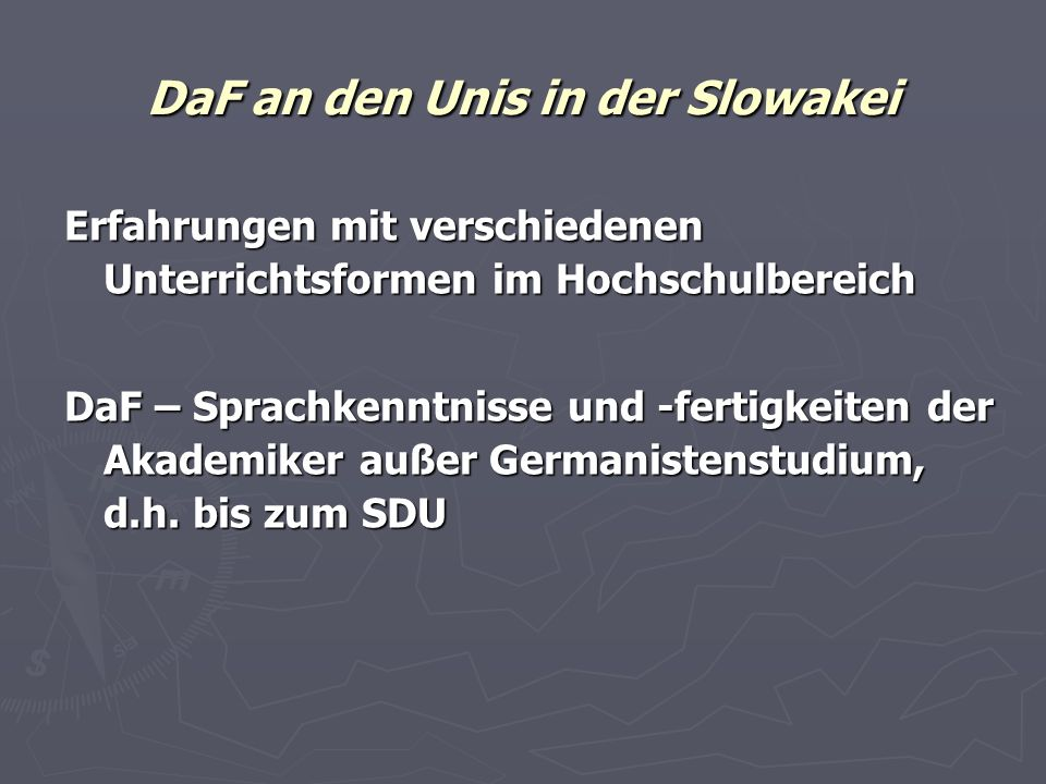 DaF an den Unis in der Slowakei