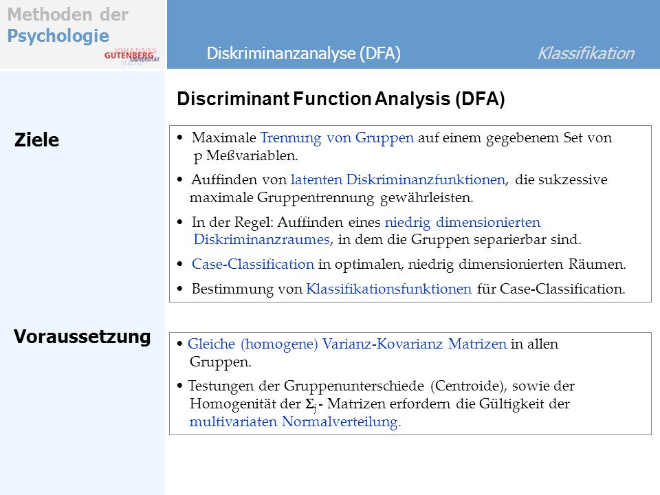 Discriminant Function Analysis (DFA)