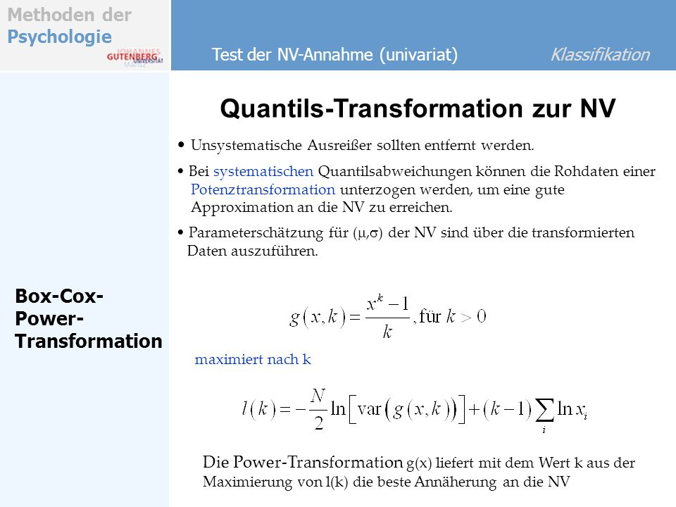 Quantils-Transformation zur NV