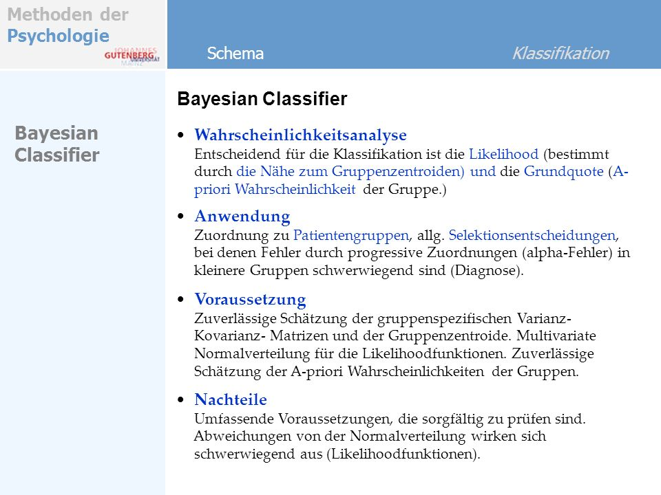 Bayesian Classifier Bayesian Classifier Schema Klassifikation