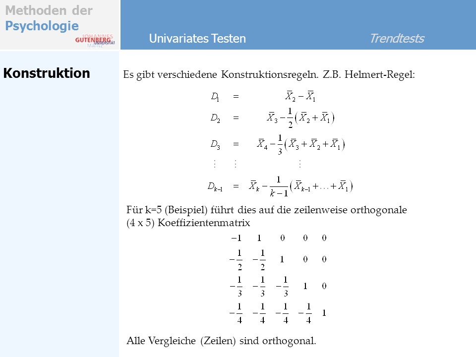 Konstruktion Univariates Testen Trendtests