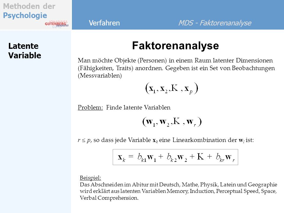 Faktorenanalyse Latente Variable Verfahren MDS - Faktorenanalyse