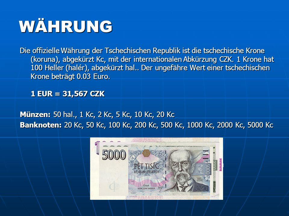 Prag Prag Tschechien Daten Kultur Kriminalität Währungbanknoten