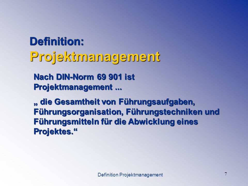 Definition Projektmanagement