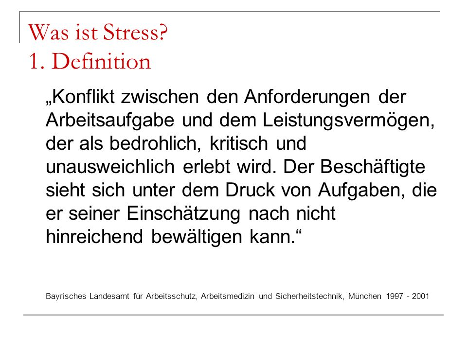 Was ist Stress 1. Definition
