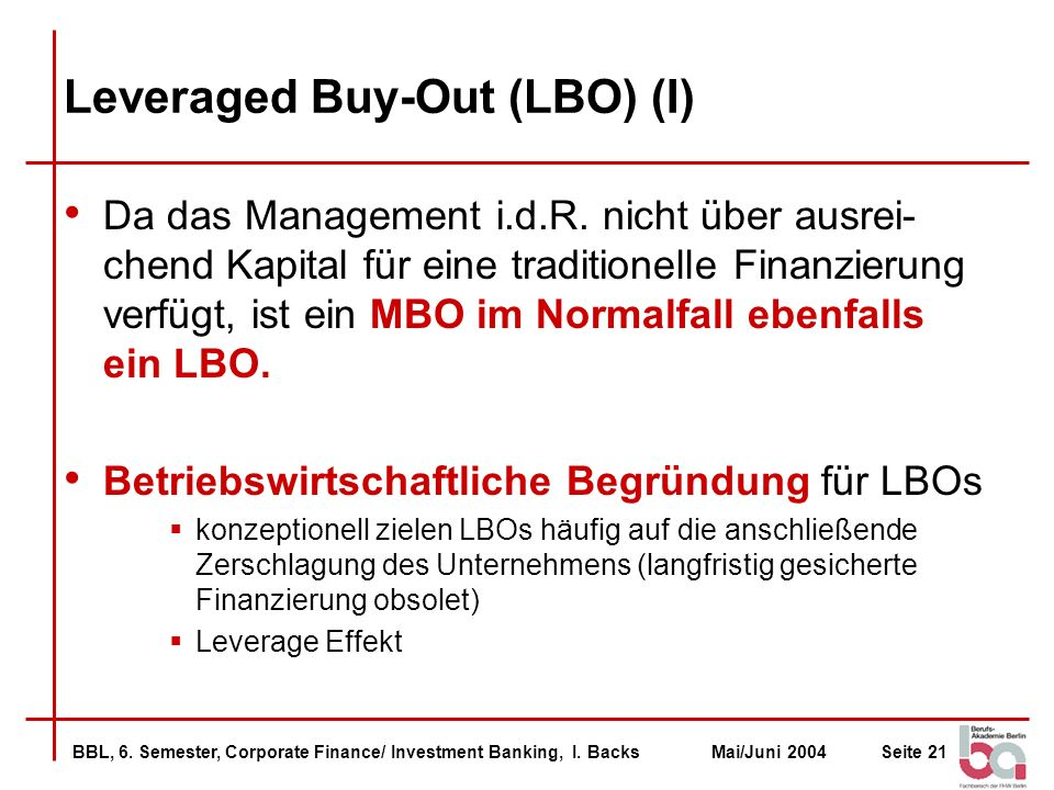 Leveraged Buy-Out (LBO) (I)