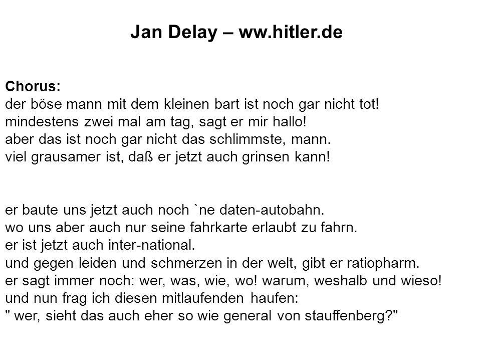 Jan Delay – ww.hitler.de Chorus: