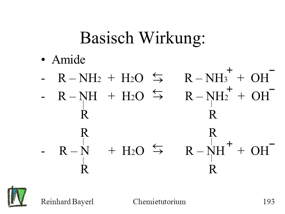 Basisch Wirkung: Amide - R – NH2 + H2O R – NH3 + OH