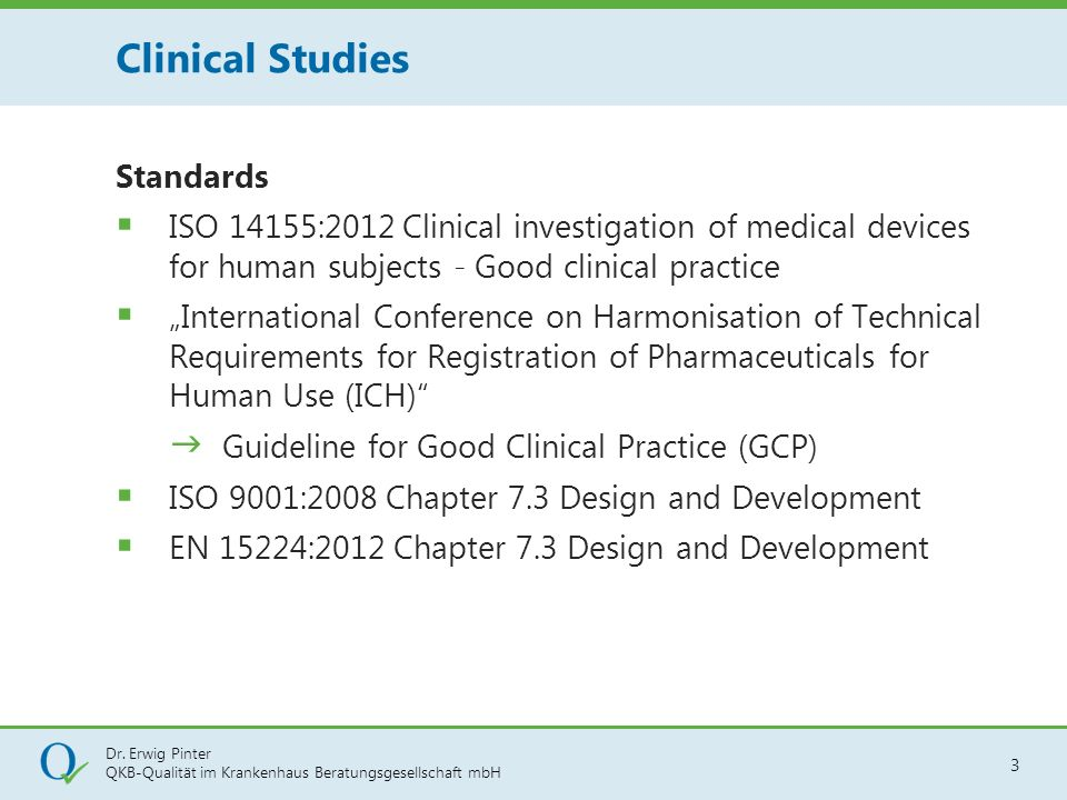 Clinical Studies Standards