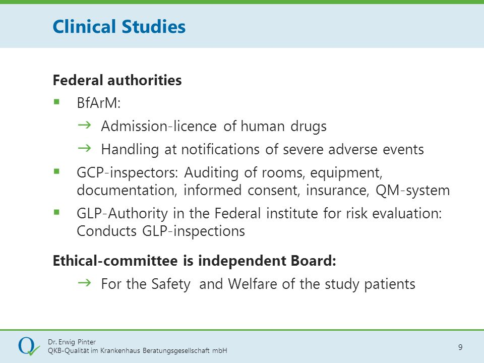 Clinical Studies Federal authorities BfArM: