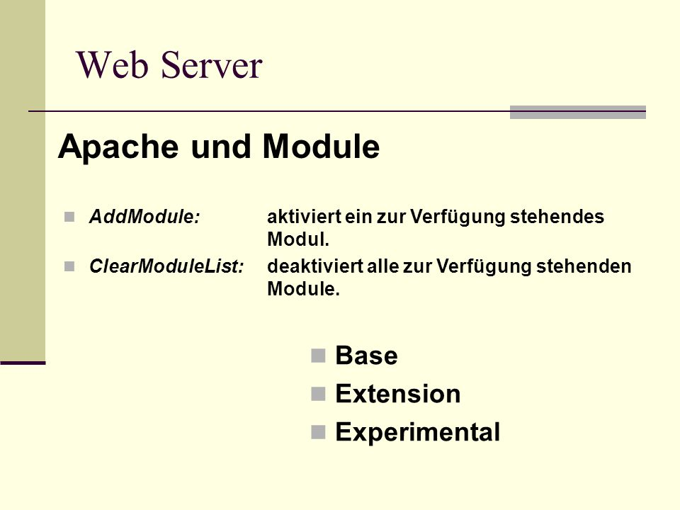 Web Server Apache und Module Base Extension Experimental