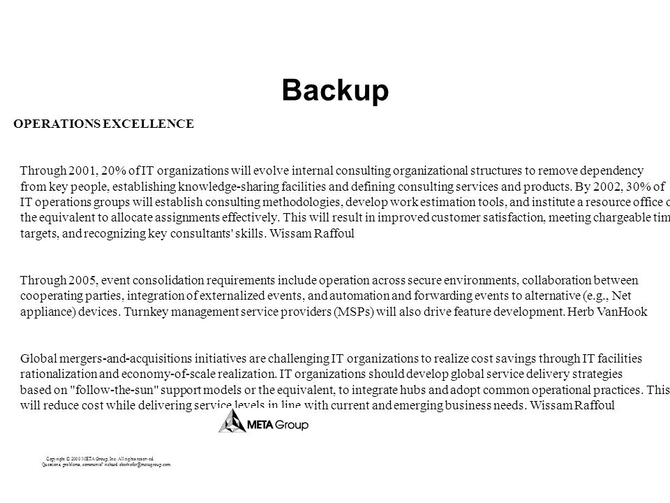 Backup OPERATIONS EXCELLENCE