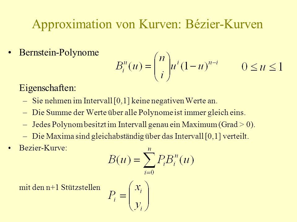 Approximation von Kurven: Bézier-Kurven