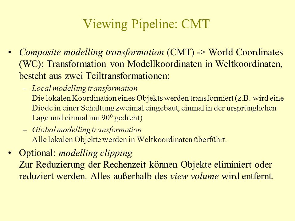 Viewing Pipeline: CMT