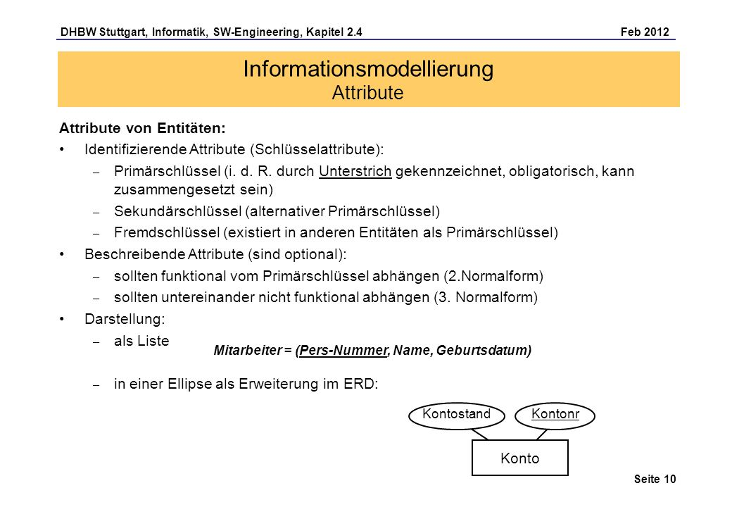 Informationsmodellierung Attribute