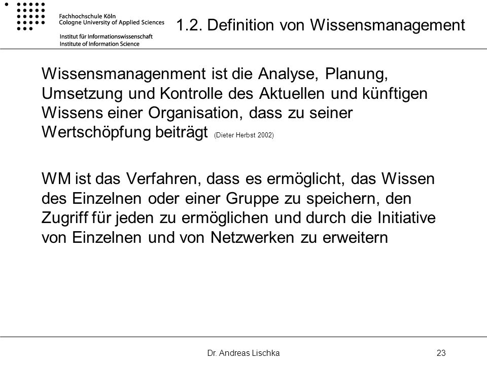 1.2. Definition von Wissensmanagement