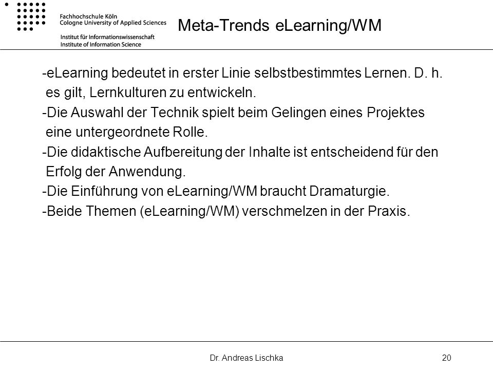 Meta-Trends eLearning/WM