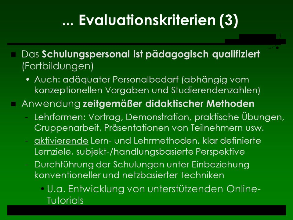 ... Evaluationskriterien (3)