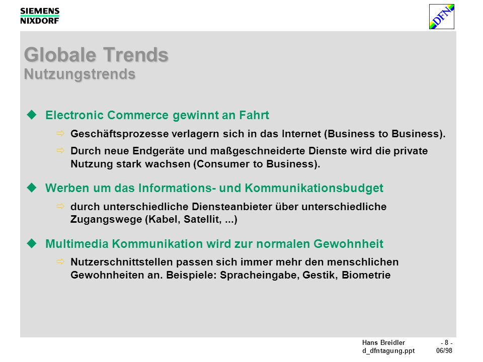 Globale Trends Nutzungstrends