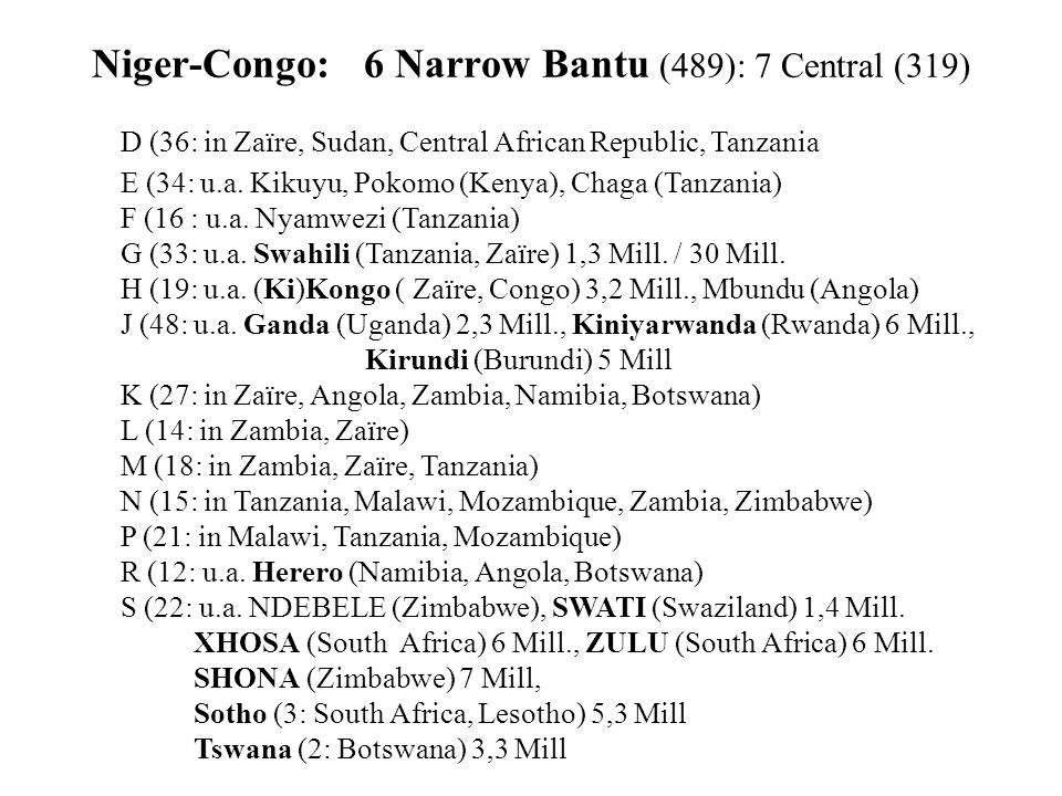 Niger-Congo: 6 Narrow Bantu (489): 7 Central (319)