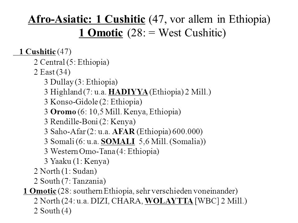 Afro-Asiatic: 1 Cushitic (47, vor allem in Ethiopia) 1 Omotic (28: = West Cushitic)