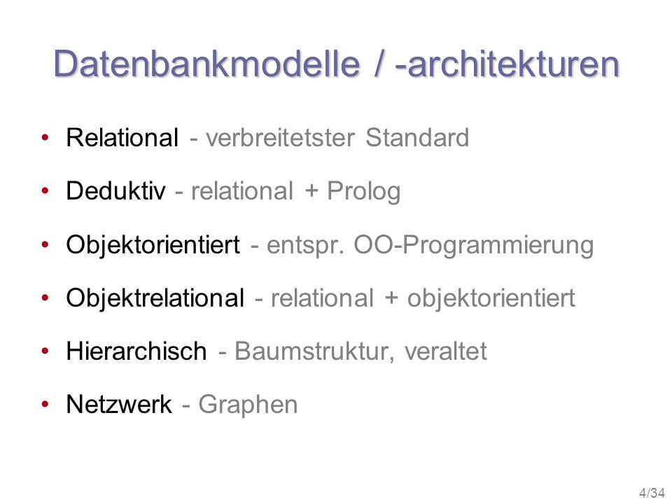 Datenbankmodelle / -architekturen