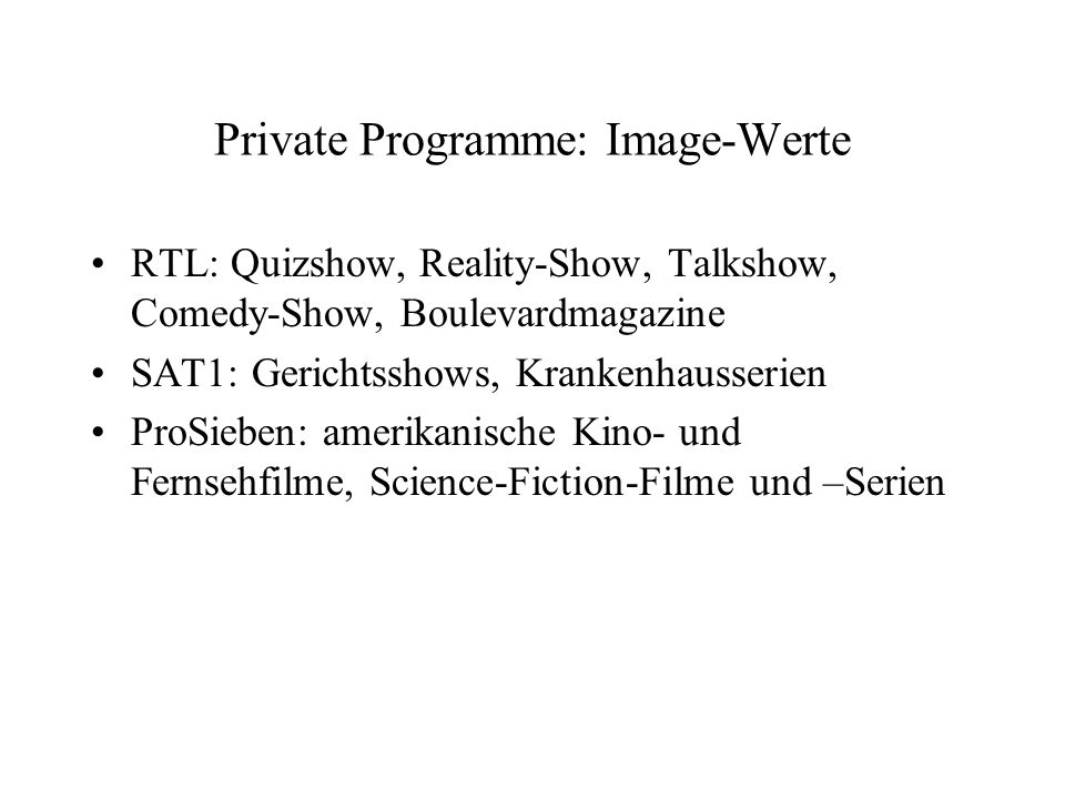 Private Programme: Image-Werte