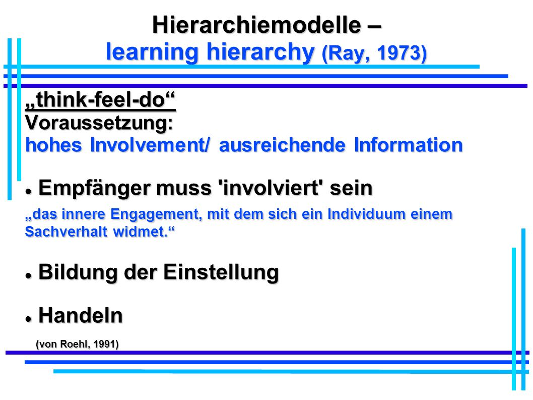Hierarchiemodelle – learning hierarchy (Ray, 1973)