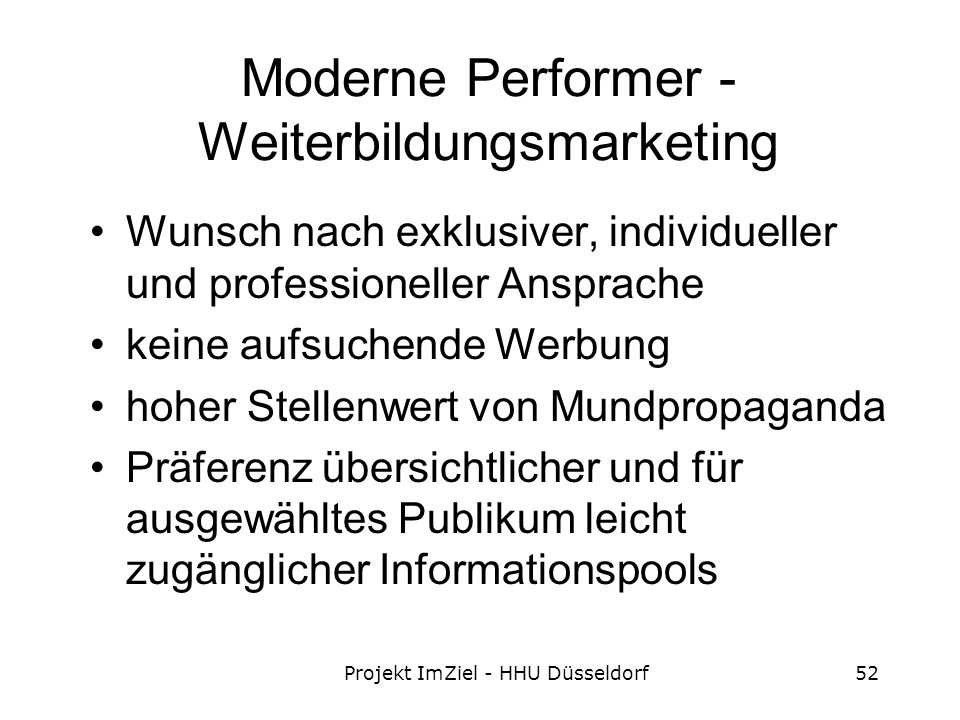 Moderne Performer - Weiterbildungsmarketing