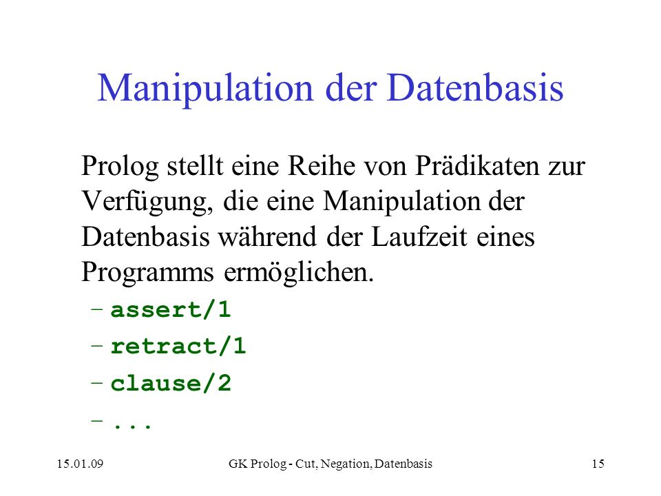 Manipulation der Datenbasis