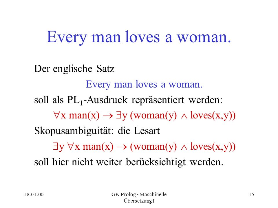 Every man loves a woman. Der englische Satz Every man loves a woman.